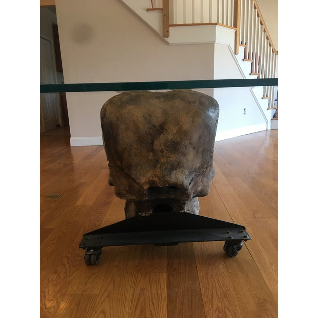 Large Woolly Mammoth Head 8ft Glass Top Table For Sale - Image 9 of 13