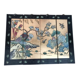 1960s Chinoiserie Lacquered Hanging Wall Panels X 4 For Sale