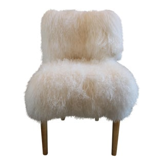 Moss Studios White Mongolian Fur Chair For Sale