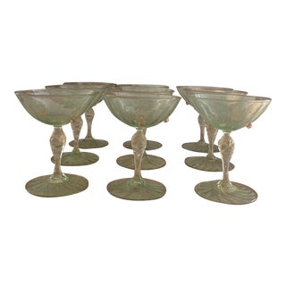 1940s Green With Gold Flecks Murano Glass Champagne Coupes Attributes to Salviati- Set of 9 For Sale