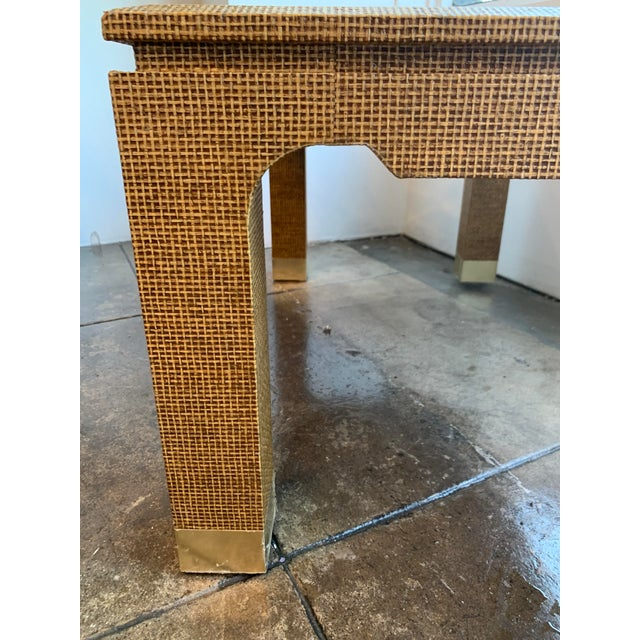 Metal 1970's Raffia Covered Side Table With Brass For Sale - Image 7 of 10