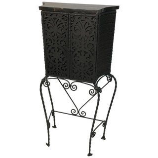 Ornate Gothic Wrought Iron Cabinet With Marble Top For Sale