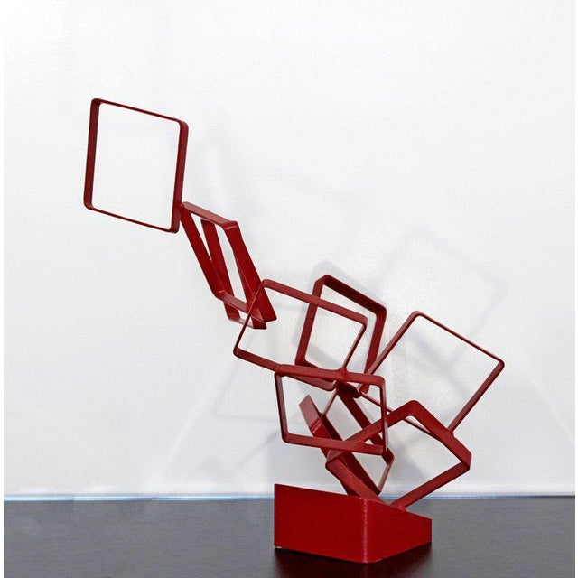 1990s Contemporary Red Metal Abstract Table Sculpture Signed Cynthia McKean For Sale - Image 9 of 12