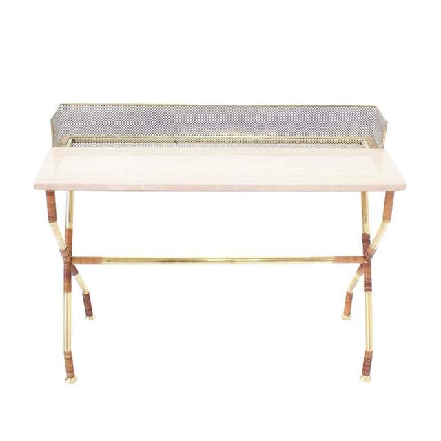 Early 20th Century Rare X-Base Brass and Marble-Top Console Table with Planter For Sale - Image 5 of 9