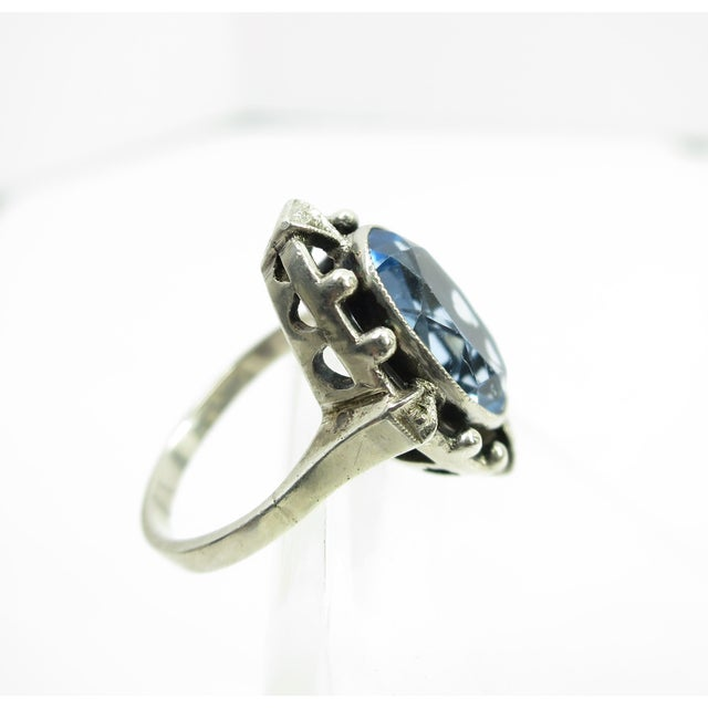 1910s Edwardian 835 Silver & Blue Topaz Ring,1910 For Sale - Image 5 of 12
