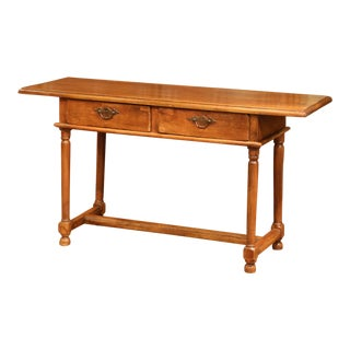 Early 19th Century Empire Walnut Console Table With Drawers For Sale