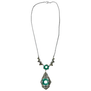Art Deco Stunning Marcasite and Jade Like Stone Necklace For Sale