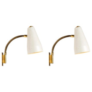1950s Lisa Johansson Pape Adjustable Wall Lights for Orno - a Pair For Sale