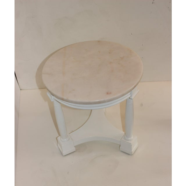 Hollywood Regency Side Tables in White Lacquer With Pink Marble: Tops 1940s - a Pair For Sale In West Palm - Image 6 of 12
