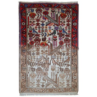 1930s Antique Persian Mashad Rug - 2′8″ × 4′2″ For Sale