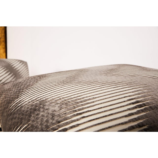 Pair of Midcentury Chrome Footed Ottomans in Jim Thompson Fabric For Sale - Image 10 of 13