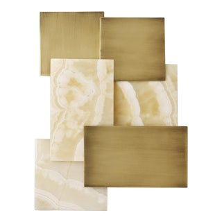 Farrow Onyx and Brass Panel Wall Light For Sale