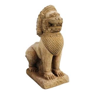 Sandstone Thai Guardian Lion Statue