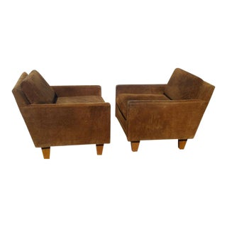 Milo Baughman Suede Lounge Chairs - a Pair