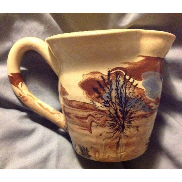 Americana Sevierville Pottery Tennessee Art Pottery Creamer Tree & Sky Motif For Sale - Image 3 of 7