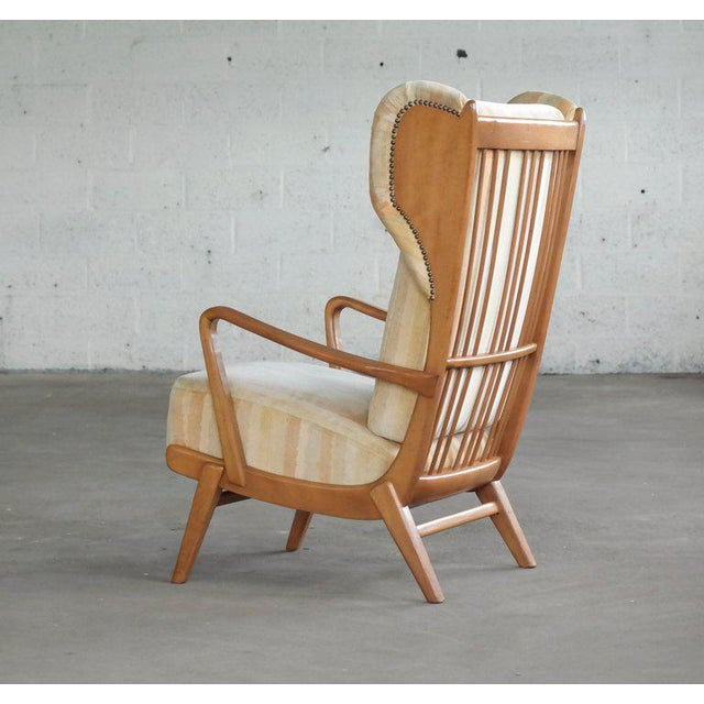 Danish Midcentury Wingback Lounge Chair With Exposed Sides For Sale In New York - Image 6 of 13