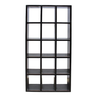 Distressed Black Lacquer Open Shelf Bookcase Display Cabinet For Sale