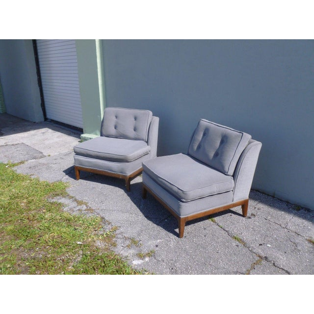 Gray 1950s Mid-Century Modern Edward Wormley Low Back Slipper Chairs - a Pair For Sale - Image 8 of 8