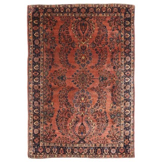 Late 19th Century Antique Sarouk Salmon and Blue Wool Persian Rug- 3′4″ × 5′ For Sale