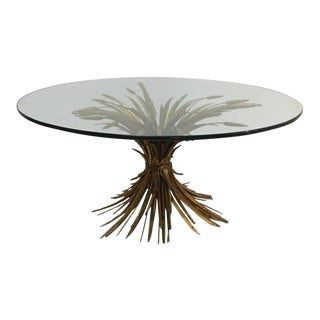 Italian Gilded Metal Coffee Table With Glass Top, 1950s