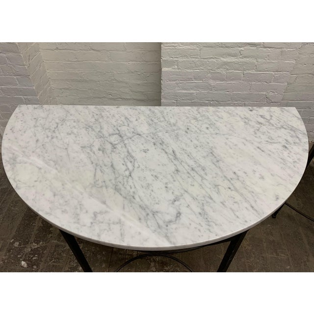 1950s Pair French Wrought Iron and Carrara Marble-Top Demilune Tables For Sale - Image 5 of 8