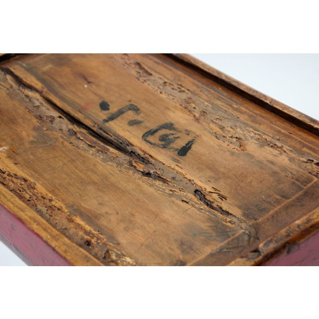 Late 19th Century Chinese Antique Red Hand Painted Wood Tray For Sale - Image 5 of 13
