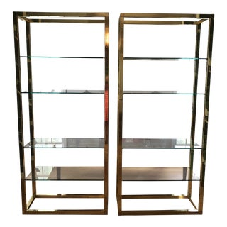 Milo Baughman Cubist Brass Tall Shelves - a Pair For Sale