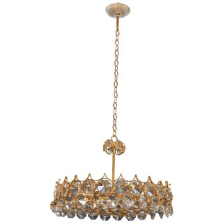 Gold-Plated Bronze and Crystal Chandelier by Palwa For Sale