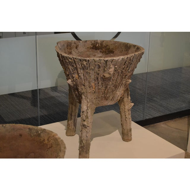 Contemporary Cement Faux Bois Planters From Belgium, - a Pair For Sale - Image 3 of 11