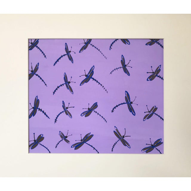 Vintage, Mid-Century Modern, gouache dragon fly design in lavender and purple tones. Unsigned, but from a portfolio...