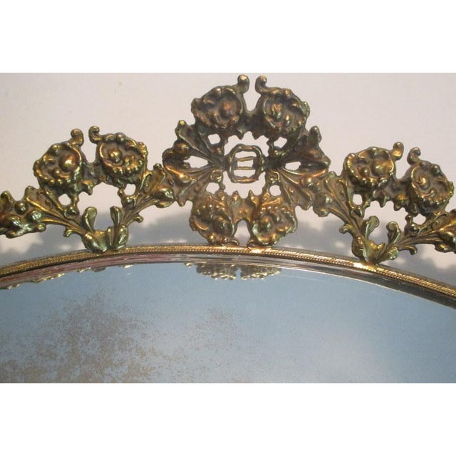 Large Vintage Mirrored Plateau Tray With Brass Flowers For Sale - Image 4 of 7