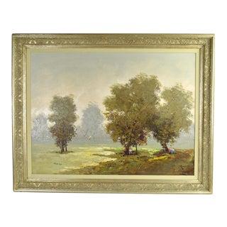 Vintage Antonio Pecoraro Impressionist Landscape Painting With Trees Figures For Sale