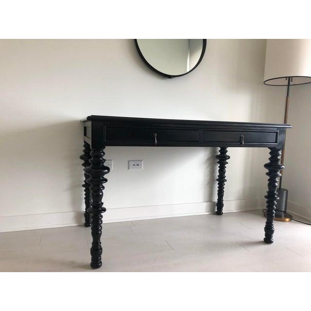 Mediterranean Noir Furniture Ferret Black Secretary Desk For Sale - Image 3 of 8