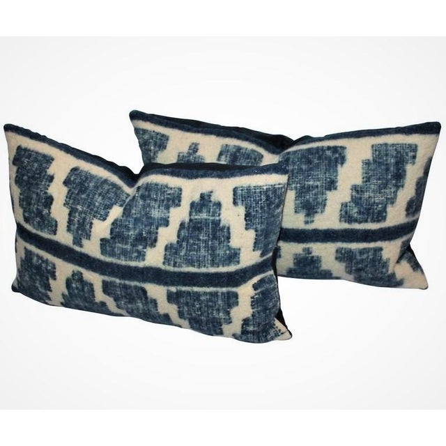 These handwoven Mexican or Peruvian indigo and cream bolster pillows are sold as a match pair. The condition are very good...