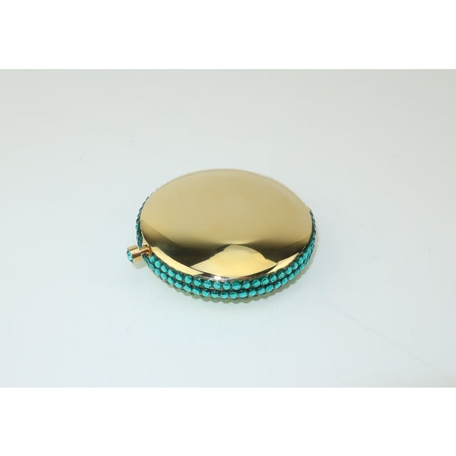 Bright Green Estee Lauder Pave Crystal Powder Compact For Sale - Image 8 of 13