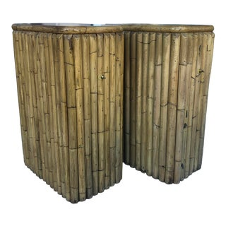 Pair Midcentury Bamboo Pedestals/Lighted For Sale