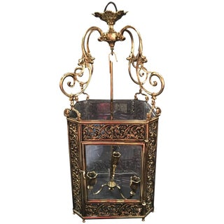 French Louis XV Style Reticulated Brass Three Light Lantern, 19th Century For Sale