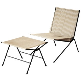 """Allan Gould String """"Bow"""" Lounge Chair and Ottoman, 1950s For Sale"""