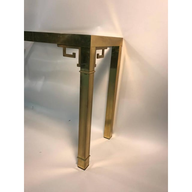 1970s ELEGANT ITALIAN SOLID BRASS CONSOLE TABLE WITH GREEK KEY DESIGN For Sale - Image 5 of 10