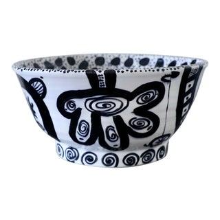 Don Nakamura Black and White Glazed Terracotta Bowl For Sale