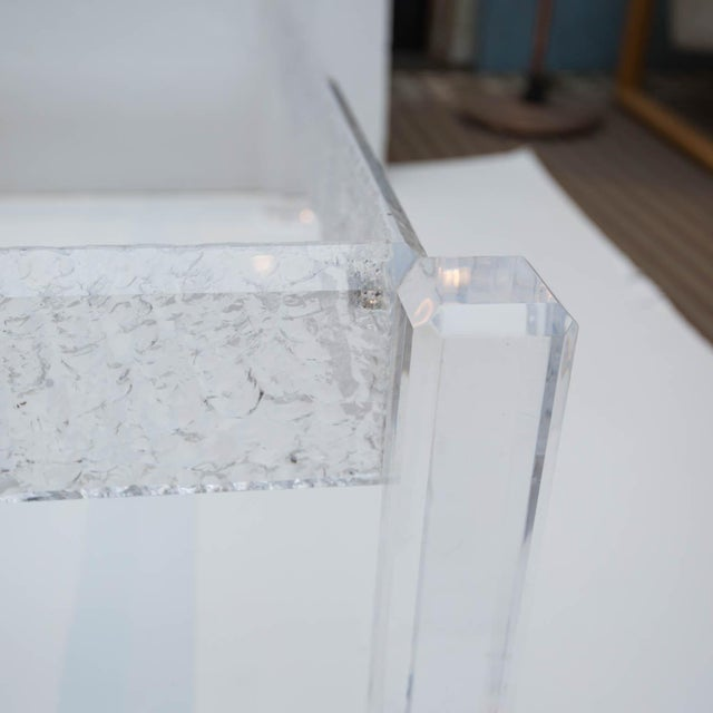 Large Custom Lucite Coffee Table Base For Sale - Image 4 of 9