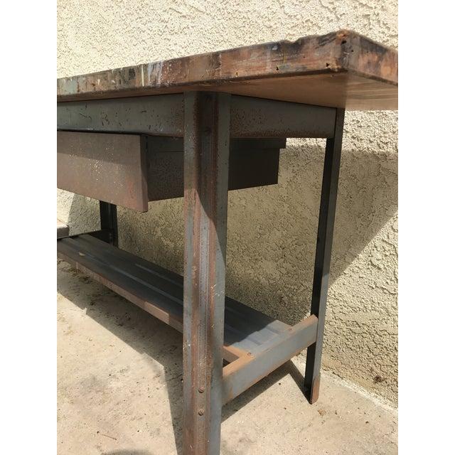 Industrial Wood Metal Workbench Craftsman 1950s Steampunk Chic Kitchen Island Workspace