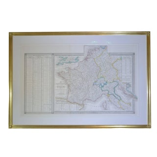 22-Karat Gold Leaf Framed Map of Napoleon's Empire, 1811 For Sale