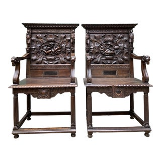 French Figural Hall Chairs - Pair For Sale