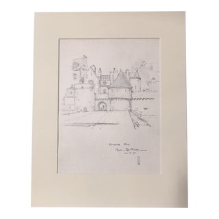 1920s Walter E. Church Entrance Gate, Mont St. Michel French Landscape Pencil Drawing For Sale