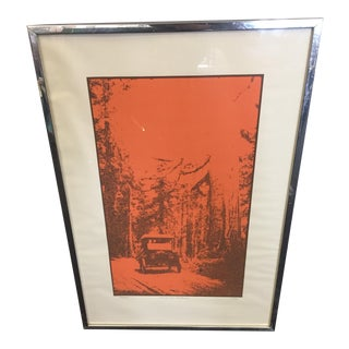1970 Car in the Redwoods Art Print For Sale