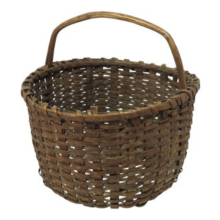 Antique Rustic New England Carry Basket For Sale