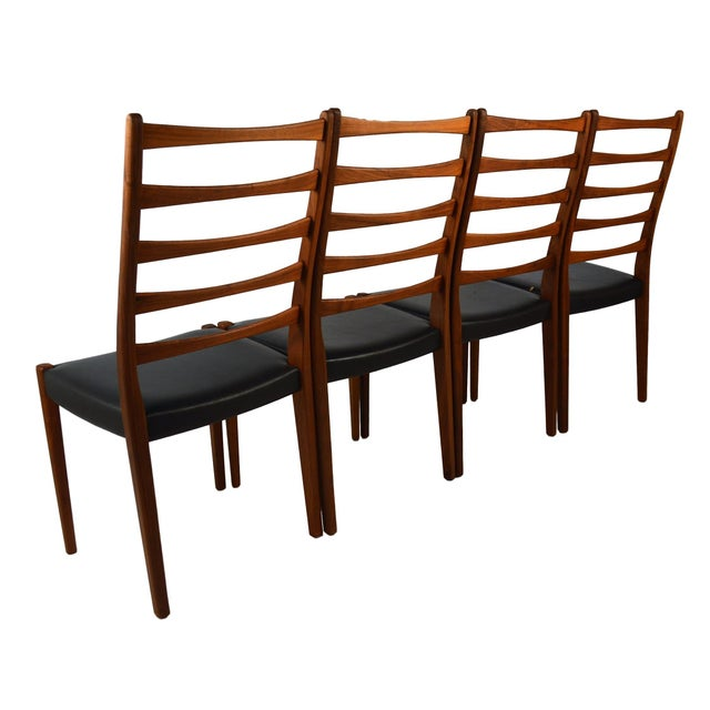 Set Of 4 Teak Ladder Back Chairs By Svegards - Image 3 of 10