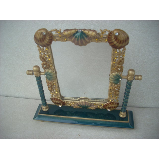 Shell embellished dressing table mirror chairish for Embellished mirror frame