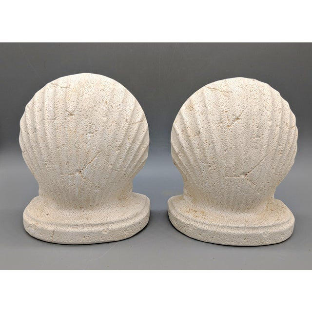 Cottage Late 20th Century Off-White Scallop/ Clam Shell Bookends - a Pair For Sale - Image 3 of 9
